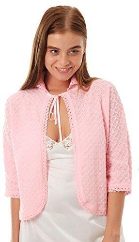 Damen gestrickt traditionell vordere Krawatte Bett Jacke Bolero Style ¾ Länge Ärmel Größen 8-10, 12-14, 16-18, 20-22, 24-26 - Rosa, WX (12-14) - Stricken-krankenhaus-bett