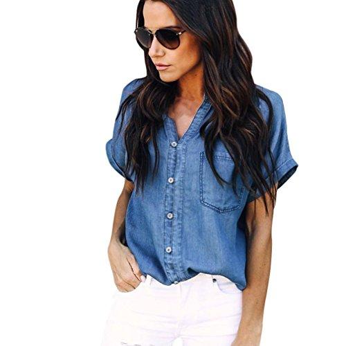 Pingtr Femmes Mode Denim Chemise Hauts Bleu Jean Bouton Blouse Veste (L, Bleu foncé)
