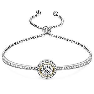 GEORGE · SMITH ❤Cinderella Design❤ Klassischer Silber Damen Armband mit Swarovski Kristallen Ideal Hochzeit Geburtstag Geschenke für Frauen Schmuck-Box enthalten