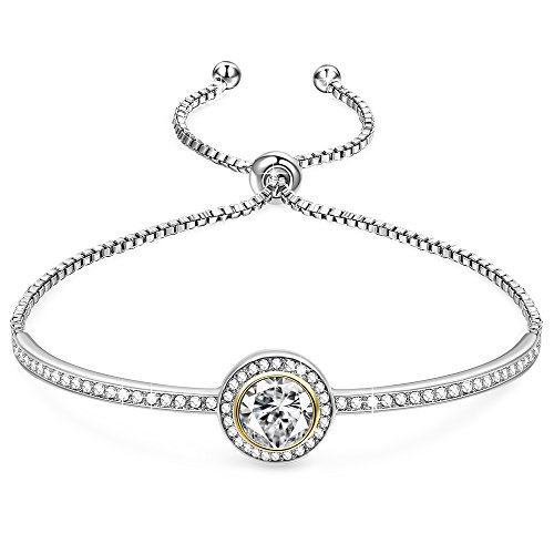"""GEORGE SMITH ❤️Birthday Gifts❤️""""Endless Saturn""""Classic Design Adjustable Women Bangle Bracelet with Swarovski Crystals Jewellery for Girlfriend Wife Mom -an Elegant Gift Box Included"""