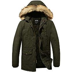 Wantdo Homme Parka à Capuche Fourrure Manteau d'hiver Blouson Matelassé Vert Small
