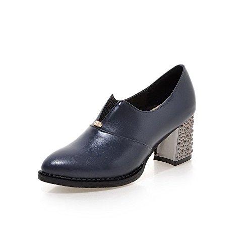 AllhqFashion Femme Matière Souple Pointu à Talon Correct Tire Mosaïque Chaussures Légeres Bleu