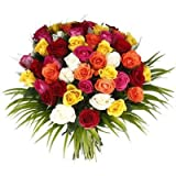 #7: Floralbay Mother's Day Special Bunch of 30 Mix Roses with seasonal Fillers in Cellophane packing