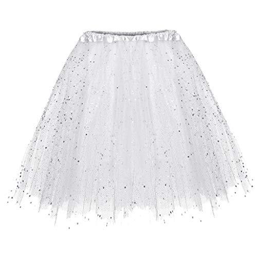 TIFIY Damen Tüllrock, 3 Lagiger Tutu kurzer Rock Elegant Mini Ballettrock Gaze kurzer Faltenrock(Weiß,One Size