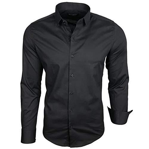 Herren Kontrast Basic Hemden Business Freizeit Langarm Anzug Hochzeit Hemd R-44, Farbe:Schwarz;Größen:6XL