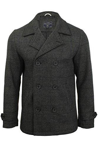 Mix lana da uomo doppio petto giacca/cappotto by Tokyo Laundry 'Alaska' Grey Check
