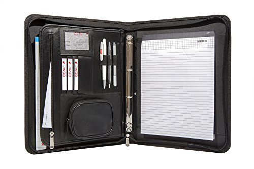 Genie A4 Schreibmappe mit herausnehmbarem Ringbuch (Frankfurt, rundum Reißverschluss, inkl. Schreibblock, in Lederoptik und strukturiertem Nylon) schwarz (Reißverschluss-tasche 3-fach)