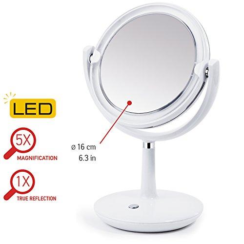 Tatkraft VALGE Beleuchteter Kosmetikspiegel Schminkspiegel mit LED Beleuchtung / 5x...