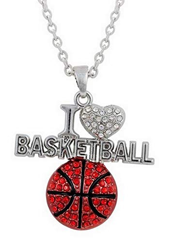 Unbekannt Générique Halskette Anhänger Ball Basketball I Love Basketball -