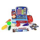 MAJOZ Elektronische Registrierkasse,Supermarktkasse ,Kinder Spiel Kasse inkl. Spielgeld Kaufmannsladen Sound Kaufladen mit viel Zubehör