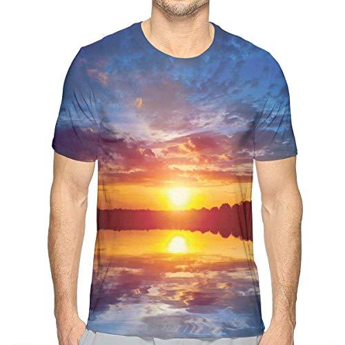 3D gedruckte T-Shirts, träumerische Sonnenuntergang-Landschaft mit Reflexion auf der See-drastischen Dämmerungs-Dämmerung - Reflexion 2 T-shirt