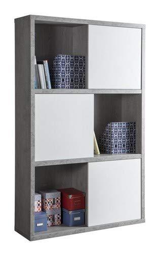 Libreria Con Ante Scorrevoli.Composad Libreria A Dodici Vani Con Ante Scorrevoli Color Cemento
