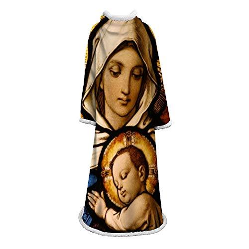 MegOK Manta Perezosa Manta Estampada de la Virgen María Manta de Terciopelo de algodón Manta con Mangas Manta de Regalo para niños adultos-127 * 178 cm (50 * 70 Pulgadas)