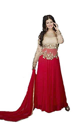 Active Women's Net And Georgette Designer Anarkali Gown (Free Size_Red)