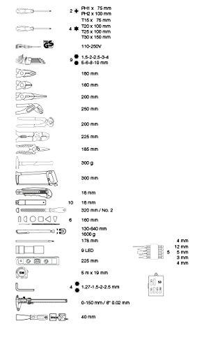Kraftwerk 1050 228-teilig ABS-Werkzeugkoffer KWJ, schwarz/Silber