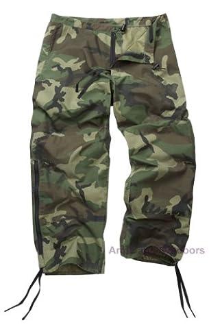 Original Reclaimed US Gortex Woodland Camo Trousers (M) - Army Surplus Camouflage