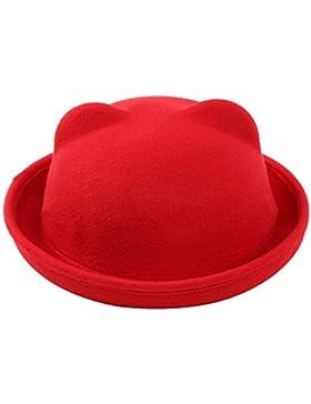 Butterme Donne della signora Girls Vintage orecchie simpatico gatto Trendy Bowler Derby Cap Hat (Rosso)