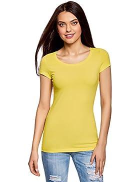 oodji Ultra Donna T-Shirt Basic Aderente (Pacco di 3)