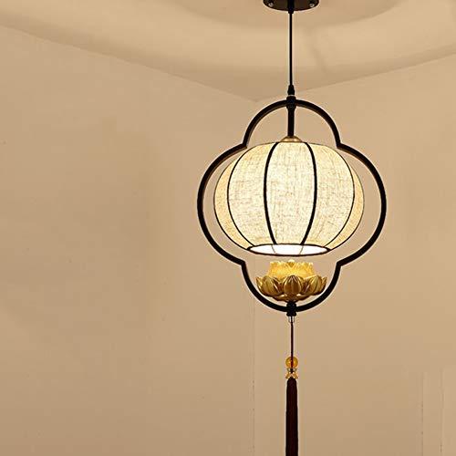 LED Vintage Sackleinen Lampenschirm Kronleuchter, chinesischen Stil Laterne Pendelleuchte E14 Schraube Lichtquelle Eisen Glas schwarz Leuchte für Flur Gang Schlafzimmer Nacht-H