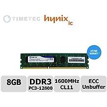 Módulo Timetec® de 8GB Dual Rank PC3-12800 DDR3-1600 (CL11) 2Rx8 240-Pin 1.35V Unbuffer DIMM Servidor ECC Estación de trabajo Memoria Actualización, Servidor Premier Hynix RAM Chip para Dell: PowerEdge C5220, T20, Precision Workstation T1650, T1700. HP: ProLiant DL120 G7, HP ProLiant MicroServer Gen8, ML10, ML310e Gen8 v2 (G8), Estación de Trabajo Z1, Z220 CMT / SFF, Z230 Tower / SFF, Z420 y más