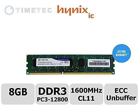 Module Timetec® 8 Go Dual Rank PC3-12800 DDR3-1600 (CL11) 2Rx8 240 broches 1.35V Unbuffer Mise à niveau de la mémoire de la station de travail DIMM ECC Server, puce RAM Premier serveur Hynix pour Dell: PowerEdge C5220, T20, station de travail Precision T1650, T1700. HP: ProLiant DL120 G7, HP ProLiant MicroServer Gen8, ML10, ML310e Gen8 v2 (G8), Station de travail Z1, Z220 CMT / SFF, Z230 Tour / SFF, Z420 et plus - Garantie à vie (8 Go)