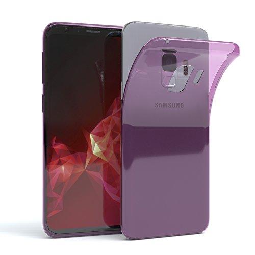 EAZY CASE GmbH Hülle für Samsung Galaxy S9 Schutzhülle Silikon, Ultra dünn, Slimcover, Handyhülle, Silikonhülle, Backcover, Durchsichtig,Transparent/Lila