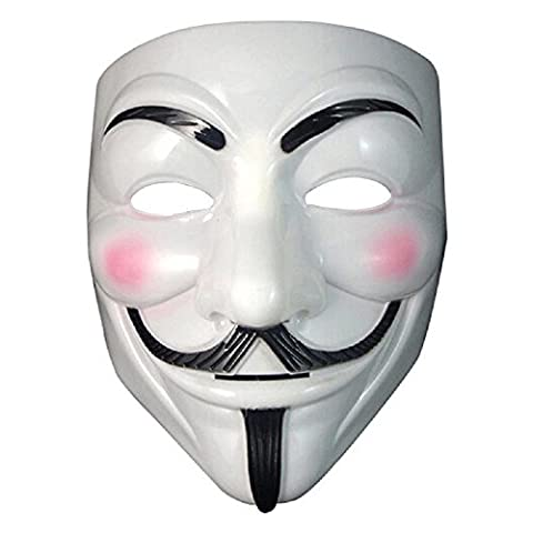 ILOVEDIY V pour Vendetta Masque - Guy Fawkes Fancy Dress Halloween Anonymous Costumes Cosplay (Blanc)