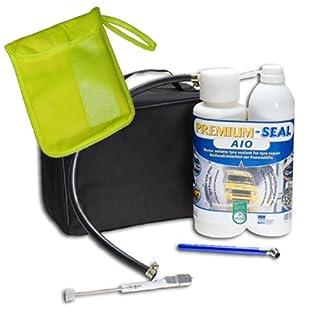 Premium Seal Repair Reifenpannenset AIO Comfort Plus inkl. Warnweste DIN ISO 20471:2013 in praktischer Textiltasche mit Kordel
