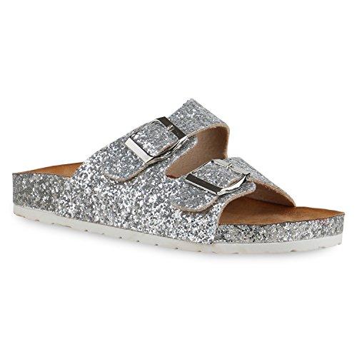 Bequeme Damen Sandalen Zehentrenner Glitzer Komfort-Sandalen Kork Bequem Strand Schnallen Schuhe 129016 Silber Glitzer Total 39 Flandell (Socken Kleid Komfort)