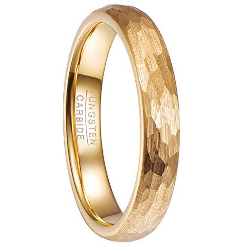 NUNCAD Damen Mädchen Paare Ring Gold 4mm aus Wolfram mit Gehämmertem Design für Zeigerfinger Alltag Hochzeit Jubiläum Partnerschaft Freundschaft Größe 62 (22)