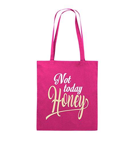 Comedy Bags - Not today Honey - Jutebeutel - lange Henkel - 38x42cm - Farbe: Schwarz / Weiss-Neongrün Pink / Rosa-Weiss-Beige