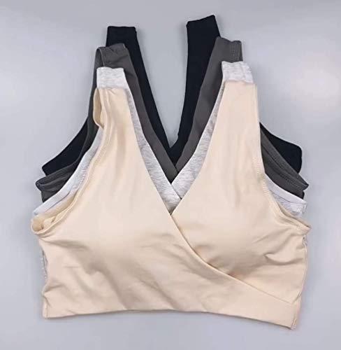 Vellette Damen Still-BH Schwangerschaft Stillen BHS Schlaf Bustier Still BH,für die Nacht,nahtlos,ohne Bügel, 2pcs(black+grey), M/L(=L) - 4
