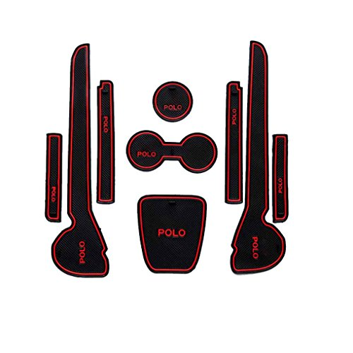 censhaorme Mat Car Interior Porta Groove Cuscini Antiscivolo Porta Slot Pad Auto Antipolvere per VW Volkswagen Polo 11-16