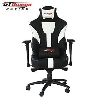 GT Omega Master XL – Silla de oficina de piel, diseño deportivo, color blanco y negro
