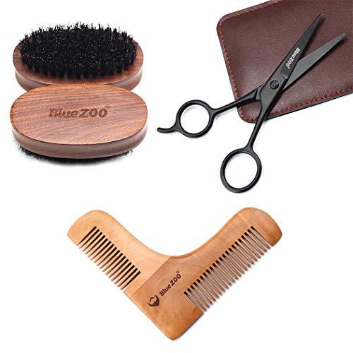 Kit Barbe Toilettage, Kapmore La Trousse De Toilette Beard Comprend Une Brosse à Barbe et Des Ciseaux à Moustache