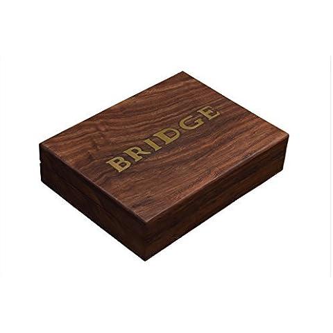 Store Indya, Carte da Gioco di legno classico della cassa del supporto Double Deck Box di stoccaggio con la famiglia per Bridge / Card Game Poker Table Accessori - Portare A Casa Attrezzature Del Bambino