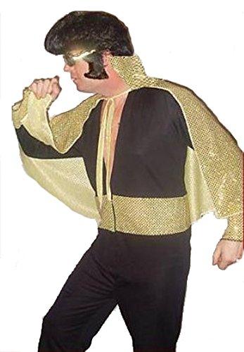 The King of Rock 'n 'Roll Elvis, Schwarz/Gold, Teddy Boy Kostüm (Kid Kostüm Elvis)
