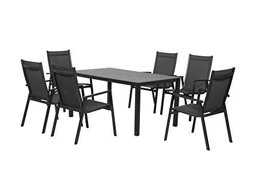 FloraSun Gartenmöbel Set BBQ, 6 Relax Sessel, 1 Gartentisch, 160 x 90 cm, H 74 cm,...