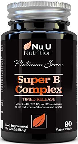 Complexe de Vitamines B - 8 Vitamines B & Vitamines C de Puissance Élevée - Vitamines B1, B2, B3, B5, B6, B8, B9 & B12-90 Comprimés à libération lente - Végétalien & Végétarien