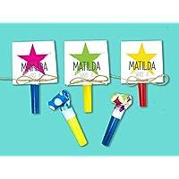 Einladungskarten Kindergeburtstag mit Stern COLOR inkl. Party Tröte