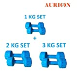 #5: Aurion Hand Dumbbells Weights Fitness Home Gym Exercise Barbell With Accessories
