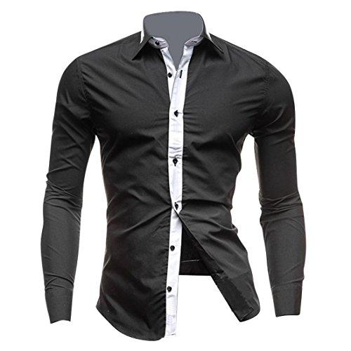 Jeansian uomo camicie maniche lunghe moda men shirts slim fit casual long sleves fashion 8700 black m