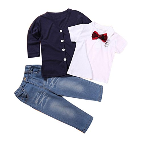 Koly_1 Set bambini neonati a maniche lunghe T-Shirt Top + coat + pants vestiti (Maniche Lunghe Per Bambini Jeans)