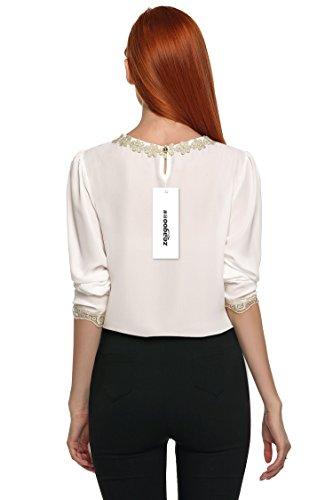 Zeagoo Chemise Femme Décoratif en Dentelle Manches Longues Mince poignet Casual en mousseline de soie Nouveauté 2017 (A)blanc