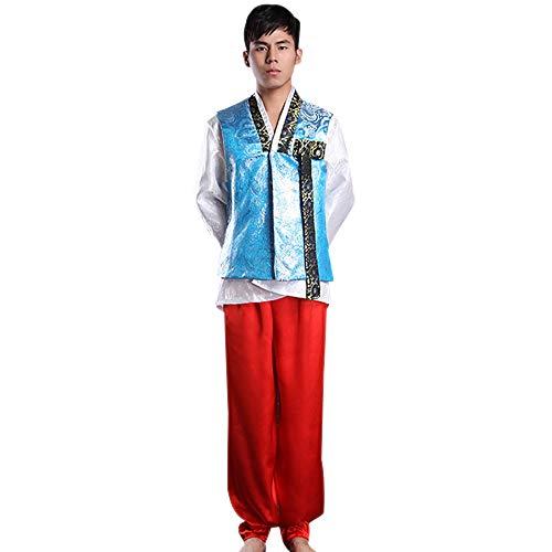 Kostüm Traditionelle Hochzeit Koreanische - BOZEVON Herren Koreanischer Traditionelle Kleider - Langarm Top + Hosen für Hochzeit Party, Style 1, One Size