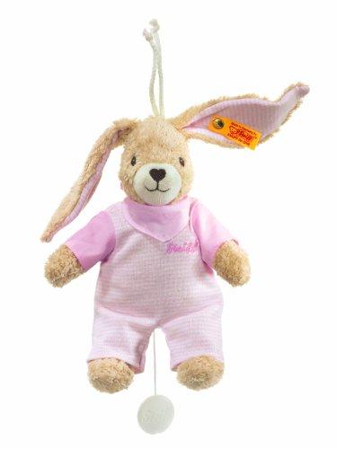 Steiff 237584 - Hoppel Hase Spieluhr, rosa, 20 cm