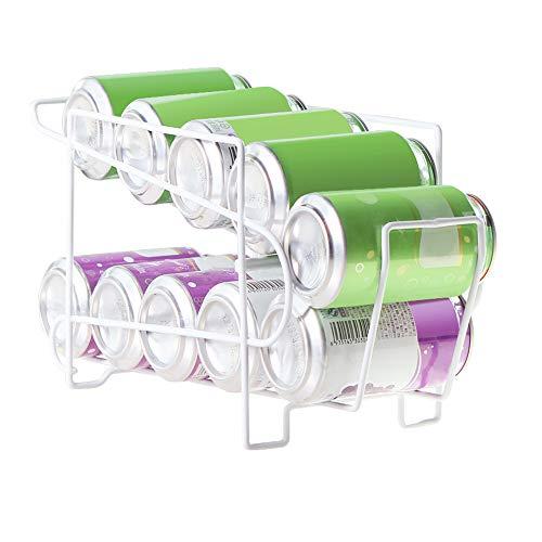 Yunhigh Dispensador de latas Bebidas para refrigerador 2 Niveles Pop refresco Lata Soporte Organizador la Rejilla Estante Hierro Resistente Cocina Armario congelador encimera despensa - Blanco