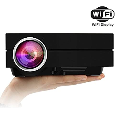 2016 Version Nueva Uvistar-GM60A Mini Wifi LED HDMI Proyector LCD 1000 Lúmenes 30000 Horas 800x480p AV VGA USB SD Micro USB Apoyar PC XBOX PS3 PS4 DVD TV Multimedia de Video Digital Cine en Casa para Hogar Cine Fiesta - Enchufe Euro