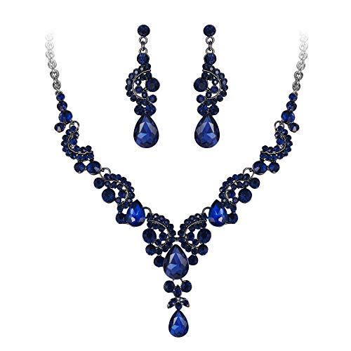 EVER FAITH Strass Kristall Hochzeit Floral Wave Teardrop Halskette Ohrringe Set Blau Schwarz-Ton