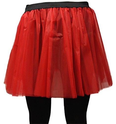 e 36cm Tütü Rock Neon Tutu Netz Tüllrock 3 Lagen Petticoat für verrücktes Kleid Party Kostüm - (Rot, Größe 46-54) ()
